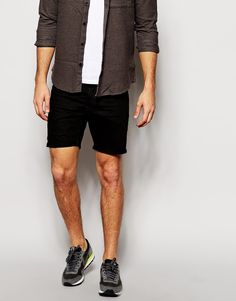 $144, G Star Denim Shorts 3301 Low Tapered 3d Raw Black. Sold by Asos. Click for more info: https://lookastic.com/men/shop_items/246539/redirect