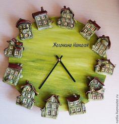 """Купить Часы настенные """"Домики"""" - зеленый, часы, часы настенные, часы интерьерные"""