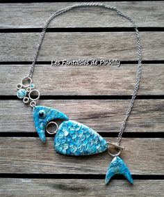 polymer turquoise necklace blue fish jewelry