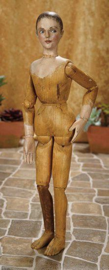 "20""-German Carved Wooden Artist Mannequin with Fourteen-Point Articulation~~~Comments: Germany, the artist mannequin dolls appeared in wholesale catalogs of the early 1800s, and later served as the inspiration to Leon Casimir Bru for his wooden-bodied Bru poupee, especially concerning the ball-swivel waist. Value Points: compelling early doll with artistic painting, elaborate articulation."