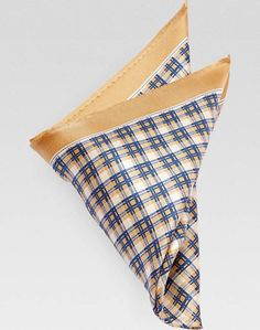 Joseph Abboud Gold & Navy Plaid Pocket Square Style #802V80016:  [25]
