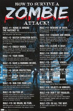 Some useful and basic advice for increasing your survivability in the event of a Zombie Apocalypse. Remember; this information is not meant to treat or cure a Zombie bite. If you are bitten by a Zombie, please either immediately chop-off the bitten extremity, or place your head firmly between your thighs and kiss your butt good-bye.