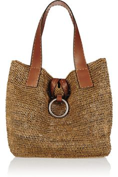Light-brown raffia, tan leather (Calf) Hook-fastening tab at open top
