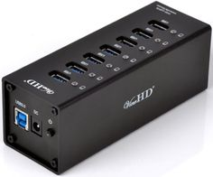 ViewHD Professional Premium Quality USB 3.0 7-Port Hub (Newest VL812 Chipset) with On/Off Power Switch + 12V 4A Power Adapter + USB Cable in Full Metal Case