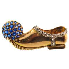 Paul Flato Gold, Diamond and Sapphire Clip Brooch