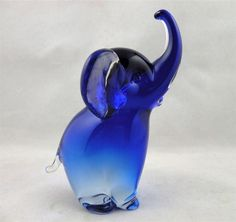 Archimede Seguso Murano Elephant in Cobalt Blue with Label Remnant from San Marcos Art Glass