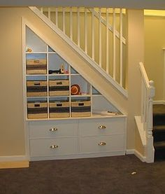 Finishing Basement Stairs Built Ins Ideas For 2019 Stair Shelves, Stair Storage, Basement Storage, Storage Shelves, Staircase Storage, Cube Shelves, Cube Storage, Staircase Design, Closet Storage