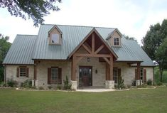 """Texas Hill Country home design: the tin roof, white limestone exterior and cedar beams highlight this home in East Texas. For more photos, visit """"Texas Hill Country Inspiration"""" on Houzz by Trent Williams Construction Management. Texas Hill Country, Hill Country Homes, Country House Plans, Rustic House Plans, Country House Exteriors, Country Style Houses, House In The Country, Texas House Plans, Style At Home"""