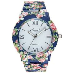 Kim Rogers Navy Multi Navy Enamel Floral Watch - Women's ($21) ❤ liked on Polyvore featuring jewelry, watches, navy multi, navy jewelry, kim rogers, floral watches, enamel watches and enamel jewelry
