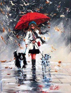 """Winter Afternoon Stroll"" von Helen Cottle www. Rain Painting, Painting & Drawing, Rain Art, Umbrella Art, Art For Art Sake, Beautiful Paintings, Love Art, Female Art, Watercolor Paintings"