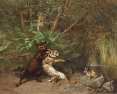 <b>William Holbrook Beard</b> <br  /> American (1824-1900) <br  /> <b>Weasel, rabbit and frog,</b> <br  /> oil on canvas, <br  /> signed lower left, gilt-framed.  <br  /> 16 x 20 inches