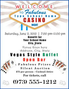 Download an entier Casino Night Promotion Package. Includes flyers, save the date cards, tickets and more.