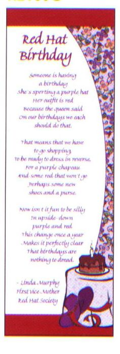 Red Hat Birthday Bookmark with Original Poem