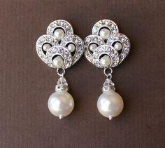 Pearl Bridal Earrings Wedding Earrings Art Deco by JamJewels1, $46.00