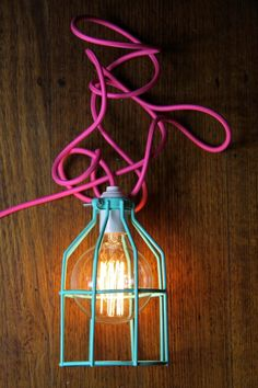 This is a cage light pendant with a 3m cord length and wall plug.Name:             'Bright Lights'.Cord:               Pink, 3m.Cage:              Peppermint. Height: 190mms Diameter: 120 mm.Lamp holder: White, E27 Screw-In.Plug:                White, Three Pin.Additions:None. Light bulb not included.All pendants are designed and created by Empirical Style within Australia.                       Please note that they take up to 5 working days to complete before posting.All pendants can be…