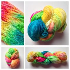 LIMITED EDITION SPARKLE SKEINS!Color(s): bright pink, yellow, lime green, turquoise (I use only professional grade acid dyes) Fiber(s): 75% superwash merino, 20% nylon, 5% stellina (a non-metal fiber that SPARKLES!)Weight: fingering Length/yardage: 438Care instructions: machine washable, lay flat to dryWhy buy hand dyed yarn vs craft store yarn