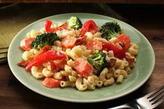 Creamy Bacon Vegetable Pasta Skillet Recipe - Kraft Recipes take out the bacon for a veggie meal #vegetarian