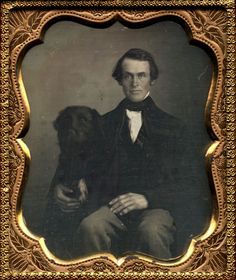 ca. 1855, [portrait of a gentleman with his dog] via I Photo Central