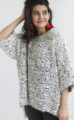 get it oversized sweater - black/white
