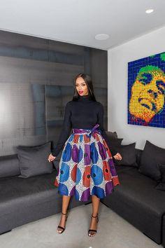 African Print Manon Midi Skirt