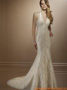 2012 Uniques schönes Brautkleid aus Spitze Bodenlang V-Ausschnitt