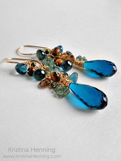 Mila Earrings with london blue topaz, green sapphire, and gold – Kristina Henning