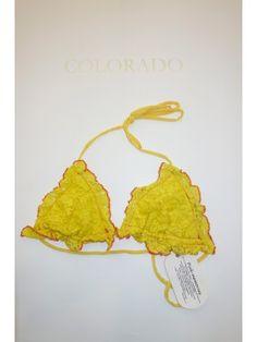 Pink Memories Costume da bagno reggiseno triangolo in pizzo giallo