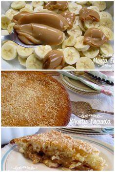 Torta de Banana e Doce de Leite, super saborosa! A mistura da banana com o coco que vai na massa ficou realmente perfeita. E todas que falei até agora essa é que tem o preparo mais rápido e fácil.