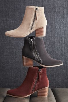 Suede ankle booties with diagonal side zippers and contrast stitching | Sole Society Corinna