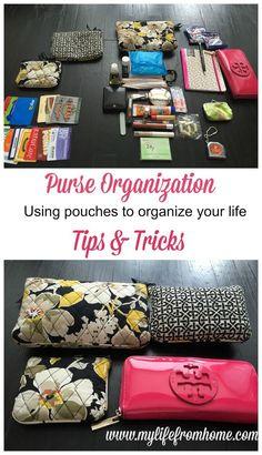 Purse Organization Tips & Tricks Using Pouches Diy Purse Organizer, Handbag Organization, Craft Organization, Organisation Hacks, Organize Your Life, Organizing Your Home, Organizing Ideas, Organising, Purse Essentials