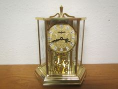 Vintage KUNDO Kieninger Obergfell Brass and Beveled Etched Glass ANNIVERSARY CLOCK!!, Battery operated ** by mauryscollectibles on Etsy