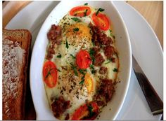 Baked sausage and eggs