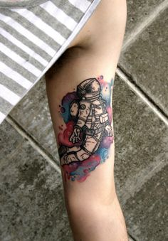 1337tattoos:  My watercolour spacemansubmitted by http://jjellzz.tumblr.com