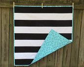 Black and White Rugby Stripe Baby Quilt with Bicycles
