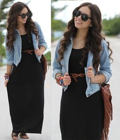Daniela Ramirez - Forever 21 Jacket, Furor Moda Sunglasses, Valrouge Dress, Mimi Boutique Bag, Forever 21 Shoes - The black maxi! Maxi Outfits, Modest Outfits, Modest Fashion, Cool Outfits, Fashion Outfits, Womens Fashion, Fashion Trends, Fashion Inspiration, Dress With Jean Jacket