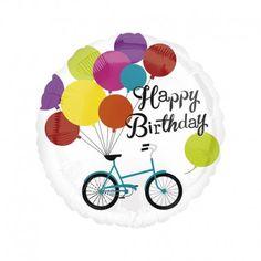 """Balon Happy Birthday - Foliowy balon napełniony helem na Urodziny. 28"""" czyli ok 71 cm dla chłopczyka lub dziewczynki.   Balon posiada nadruk baloników oraz rowerka.  Sprawdźcie sami:)  http://www.niczchin.pl/balony-z-helem-dla-dzieci-krakow/1967-balon-foliowy-urodzinowy-happy-birthday-28.html  #balony #happybirthday #urodziny #zabawki #niczchin #krakow"""