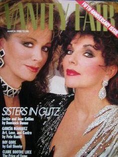 Joan Collins & Jackie Collins. Vanity Fair Mar. 1988