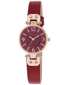 Anne Klein Women's Red Leather Strap Watch 26mm 10/9442RGBE