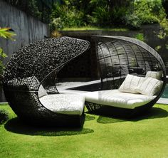 pods for the sitting area near the pool