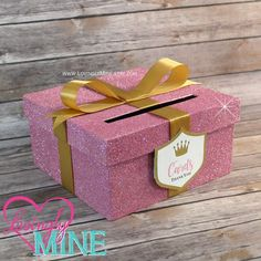 Card Box in Glitter Pink & Gold with Matching Princess Shield Tag - Baby Shower, Wedding, Birthday Party - Additional Colors Available by LovinglyMine on Etsy - Princess Card Box, Money Box, Baby Wish Box, Baby Wish Jar, Bride Wish Jar, Bride Advise Jar