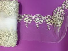 Golden Sheer Mesh Floral Embroidered Ribbon Trim for by KBazaar