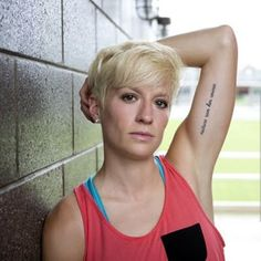 Megan Rapinoe of the Seattle Sounders and the US Women's Soccer Team. She's adorbs and I'm cutting my hair like this. It's a decision that's already been made