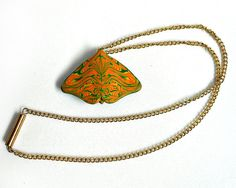 Butterfly Pendant Necklace Polymer Clay by CicadaArtJewelry