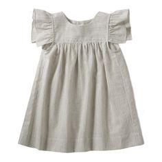 Girls Little Lief Ruffle Sleeve Dress - Grey Cotton Gauze Stripe // via Miniluu