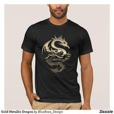 Gold Metallic Dragon T-Shirt Personal Shopping, American Apparel, Tshirt Colors, Fitness Models, Metallic, Dragon, Man Shop, Unisex, Tees