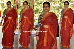 For an appearance at a recent event, Vidya paired her red-orange woven sari with a Sabyasachi blouse. Wearing her hair centre-parted and in a knot, Vidya finished out the look with Amrapali earrings, beaded bracelet and a pair of glasses. This one's a 'Not Quite' for me… As much as the color works on her, the look itself was way too severe for the actor.