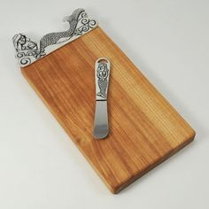 [1233] pewter mermaid mini board with pate knife lead free