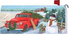 Country Christmas themed garden flag with an antique red truck hauling a freshly cut Christmas tree hometo decoratefor the season. The snow covered, plowed field, big red barn and friendly snowman s