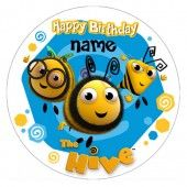 The Hive Buzzbee & Friends Round Edible Icing Caketopper - Personalised