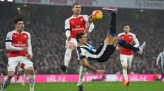 Jan 2nd. 2016: Newcastle United's Alexander Mitrovic attempts a bicycle-kick goal against Arsenal, but his effort went wide.